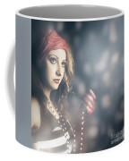 Female Fashion Model Holding Jewelry Necklace Coffee Mug