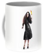 Female Jester Holding Lit Fire Torch Coffee Mug