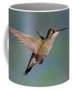 Female Magnificent Hummingbird At Flower Coffee Mug