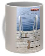 Footprints On Dock At Summer Lake Coffee Mug