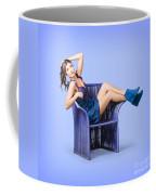 Full-length Portrait. Lovely Woman In Denim Dress Coffee Mug