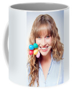 Fun Party Girl With Balloons In Mouth Coffee Mug