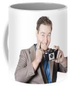 Funny Man Gesturing Big Smile With Vintage Camera Coffee Mug