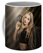 Gas Mask Pinup Girl In Nuclear Danger Zone Coffee Mug