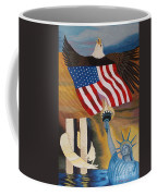God Bless America Hand Embroidery Coffee Mug