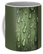 Green Leaf Abstract With Raindrops Coffee Mug by Elena Elisseeva