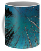 Green Swirls Of Northern Lights Over Boreal Forest Coffee Mug