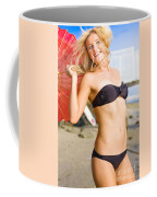 Happy And Excited Woman Jumping At Beach Coffee Mug