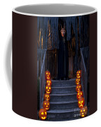 Haunted House With Lit Pumpkins And Demon Coffee Mug