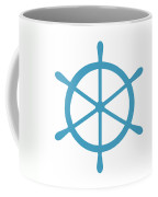 Helm In White And Turquoise Blue Coffee Mug