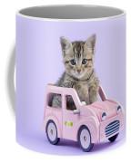 Kitten In Pink Car Coffee Mug