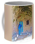 Knocking On A Blue Door Of Tufa Home In Goreme In Cappadocia-turkey  Coffee Mug