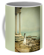 Lady In White By The Sea Coffee Mug