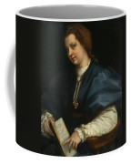 Lady With A Book Of Petrarch's Rhyme Coffee Mug