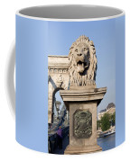 Lion Sculpture On Chain Bridge In Budapest Coffee Mug