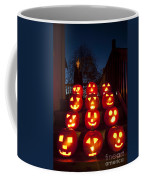 Lit Pumpkins With Demon On Halloween Coffee Mug