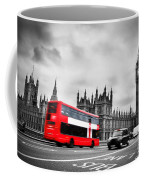 London Uk Red Bus In Motion And Big Ben Coffee Mug