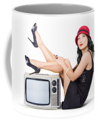 Lovely Asian Pinup Girl Posing On Vintage Tv Set Coffee Mug