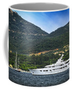 Luxury Yacht At The Coast Of French Riviera Coffee Mug by Elena Elisseeva