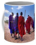 Maasai Men In Their Ritual Dance In Their Village In Tanzania Coffee Mug