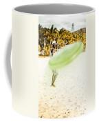 Man Playing Frisbee On Beach Coffee Mug