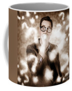 Man Problem Solving Question With Search Light Coffee Mug