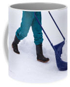 Manual Snow Removal With Snow Scoop After Blizzard Coffee Mug