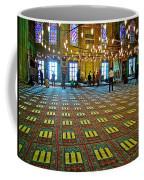Men Inside The Blue Mosque In Istanbul-turkey Coffee Mug