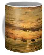 Mesdag's Sunset At Scheveningen -- A Fleet Of Shipping Vessels At Anchor Coffee Mug