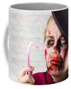 Monster Holding Sad Toothbrush. Rotting Teeth Coffee Mug