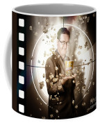 Movie Man Holding Cinema Popcorn Bucket At Film Coffee Mug
