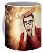 Nerd Business Man Shouting Out In Fear Of A Bomb Coffee Mug