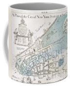 New York City Map, 1728 Coffee Mug