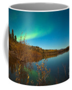 Northern Lights And Fall Colors At Calm Lake Coffee Mug