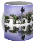 Oil Painting - Cottages And Lagoon Water Coffee Mug