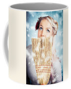 Pin-up Woman Cleaning Up In Cold Blue Winter Snow Coffee Mug
