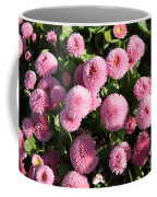 Pink Button Pom Flowers Coffee Mug