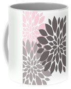 Pink Gray Peony Flowers Coffee Mug