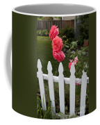Pink Roses White Picket Fence Coffee Mug