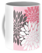 Pink White Grey Peony Flowers Coffee Mug