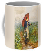 Portrait Of A Woman With Umbrella Gathering Water Coffee Mug