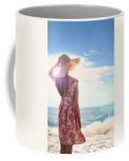 Pretty Young Woman Looking Out To Sea Coffee Mug