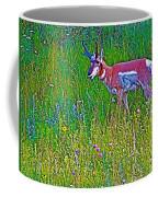Pronghorn Among Wildflowers In Custer State Park-south Dakota Coffee Mug