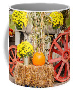 Pumpkins Next To An Old Farm Tractor Coffee Mug