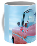 Red Chevy '57 Bel Air At The Beach Square Coffee Mug by Edward Fielding