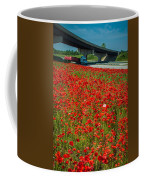 Red Poppy Field Near Highway Road Coffee Mug