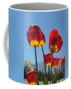 Red Tulips With Blue Sky Background Coffee Mug