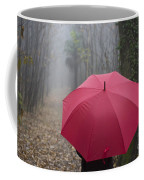 Red Umbrella In The Forest Coffee Mug