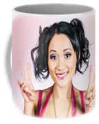 Retro Asian Girl Gesturing Peace Love And Hope Coffee Mug