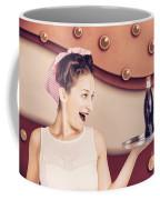 Retro Pinup Girl Holding Food And Drinks Tray Coffee Mug